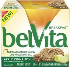 Belvita Apple Cinnamon Breakfast Biscuits, 5 Individually Wrapped Packs with 4 Biscuits in Each Pack (2 Boxes of 5-1.76 oz packs)