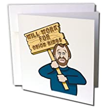 buy Dooni Designs Humorous Bribery Signs Sarcasm Designs - Funny Humorous Man Guy With A Sign Will Work For Onion Rings - 12 Greeting Cards With Envelopes (Gc_117126_2)