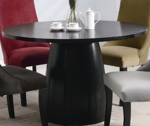 Buy Low Price Coaster Round Dining Table in Black Satin Finish (VF_101590)