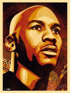 "Michael Jordan ""MJ Portrait"" 24x36 Silkscreen Print Autographed by Artist Shepard Fairey - Unframed and Limited to 123"