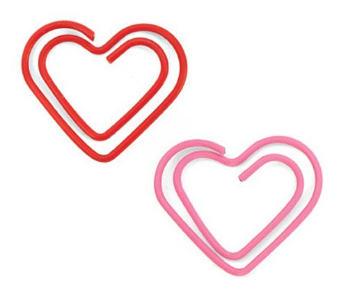 Kikkerland Heart Paper Clips, Box of 50, Pink/Red (PC14)