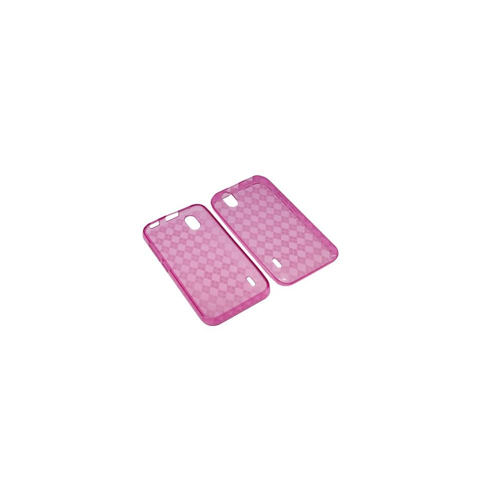BW TPU Sleeve Gel Cover Skin Case for Sprint LG Marquee LS855  Pink Checker