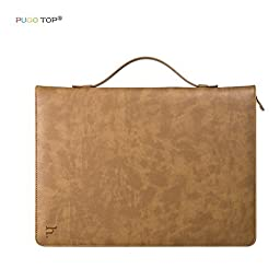 iPad Pro Portfolio Case, PUGO TOP PU Leather Portfolio Series Briefcase Tablet Sleeve Case Cover with Auto Sleep/Wake for Apple iPad Pro 12.9 inch, Khaki ( Keyboard was not included )