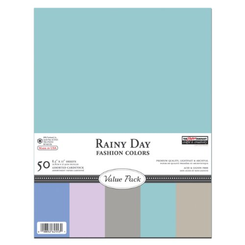 The Paper Company, P62553, Rainy Day Cardstock Value Pack, 8-1/2 by 11 (50 Sheets)