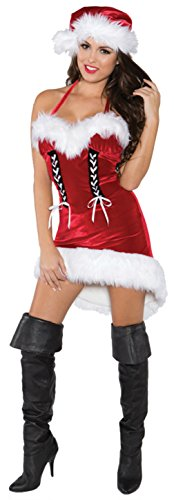Underwraps Womens Sexy Miss Santa Holiday Christmas Theme Party Fancy Costume