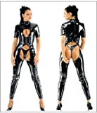 Burlesque Box-Sexy Black PVC Shiny Cut Out Womans Catsuit Fetish Bondage 50 Shades & Thong*THIS IS THICK PVC NOT SHINY LYCRA*