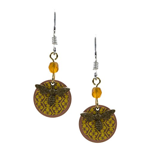 [Lemon Tree 2 Layer Lightweight Beaded Dangle Earrings Bee Charm With Floral Honey Back] (Cute Honey Bee Costumes)