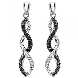 0.10 Carat (ctw) Sterling Silver Black & White Diamond Ladies Infinity Swirl Dangling Earrings 1/10 CT