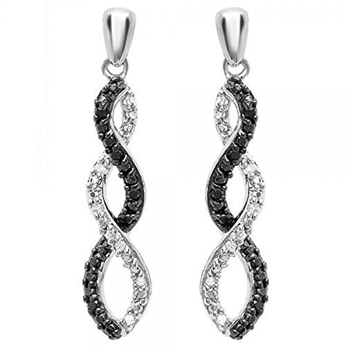 0.10 Carat (ctw) Sterling Silver Black & White Diamond Ladies Infinity Swirl Dangling Earrings 1/10 CT