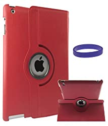 DMG Full 360 Degree Rotating Leather Cover Smart Case for Apple iPad 2/3/4 with DMG Wristband (Red)