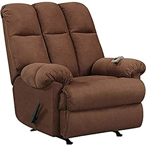 Massage Rocker Recliner Chair Microfiber Chocolate Brown Rocking Reclining