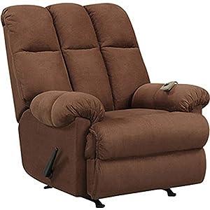 Massage Rocker Recliner Chair Microfiber Chocolate Brown Rocking Reclining