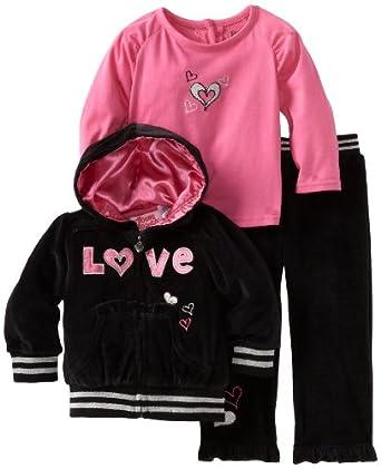 Young Hearts Baby-girls Infant 3 Piece Love Velour Jog Set, Black, 18 Months