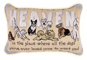 Heaven Is The Place Dogs Decorative Tapestry Toss Pillow from Simply Home