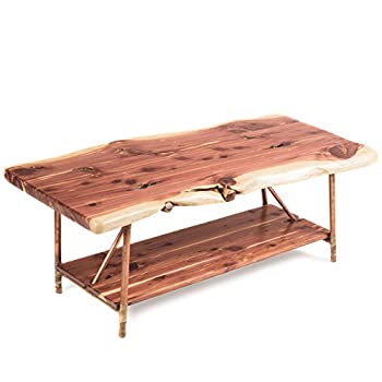 "Niangua Furniture Live Edge Rustic Coffee Table - Cedar Wood - Metal Copper Pipe Legs - 48"" x 23"""