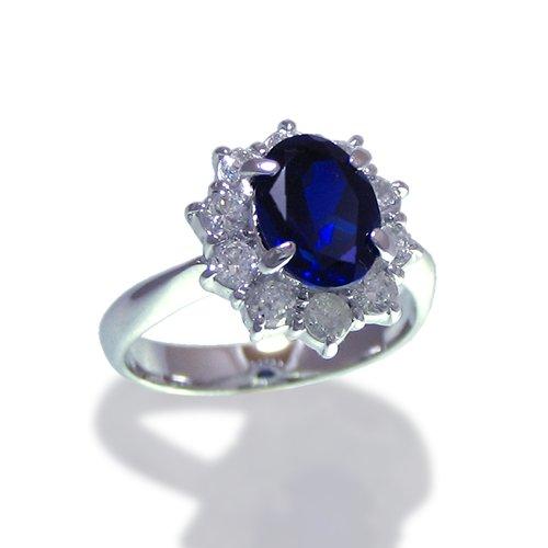 ダイアナリング/ダイヤモンド ブルーサファイアCZ プラチナカラー/指輪 ring/レディース ギフト プレゼント 【8号】