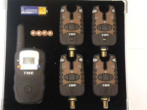 4 x Wireless Bite Alarms + Receiver +Case + Batteries