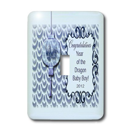 Lsp_55145_1 Baby Announcements - Congratulations Parents Of Dragon Baby, Boy, Dragon On Lantern, Blue - Light Switch Covers - Single Toggle Switch