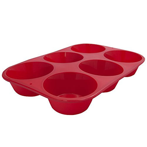 Marathon Housewares Premium Silicone 6 Cup Standard Size Muffin Pan, Red KW200010RD