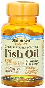 Sundown Naturals Naturals Odorless Premium Omega-3 Fish Oil, 72 Softgels