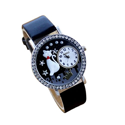 Changeshopping(Tm) 3D Cat Leather Band Crystal Analog Quartz Wrist Watch