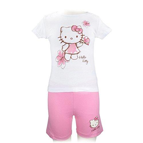 """Hello Kitty Kurz-Schlafanzug """"rosa Blumen"""" [122/128]"""