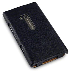 "NOKIA LUMIA 900 SLIM FIT ""COVERT"" BRANDED PU LEATHER FLIP CASE - BLACK"