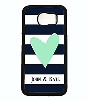 Galaxy S6 Case, ArtsyCase Navy Stripe Mint Heart Couple Personalized Name Phone Case - Samsung Galaxy S6 (Black)