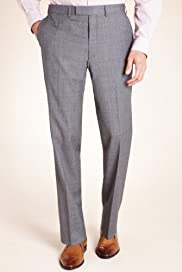 Autograph Flat Front Micro Checked Trousers with Wool [T15-0732A-S]