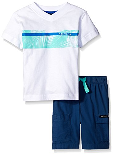 Nautica Little Boys' Two Piece Tee Shirt Set, White, 4T