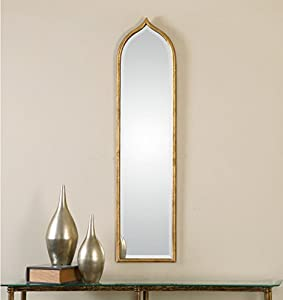 Tall slim gold wall mirror thin frame home for Tall slim mirror