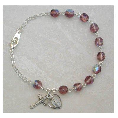 Sterling Silver Womens Rosary Bracelet Alexandrite June Birthstone.