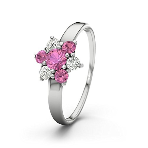 21DIAMONDS Barbara 21COLLECTION Pink Tourmaline Brilliant Cut Women's Ring - Silver Engagement Ring