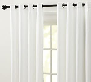 white color linen grommet eyelet curtain with