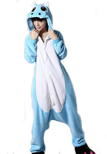 Wjia Winter Adult Cosplay Hippo Flannel Animal Pajamas