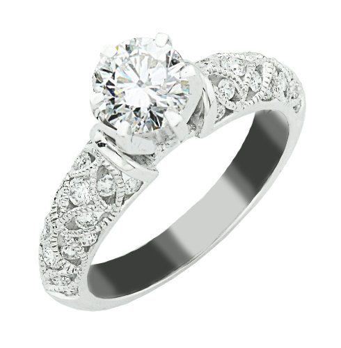 1 Low Price 0 98 Carat 14k White Gold Antique Style Engagement Ring SI3 I1 C