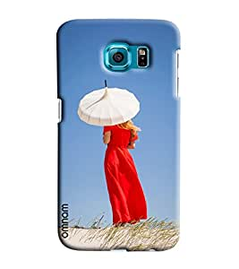 Omnam Girl Giving Back Pose With White Umbrella In Deserts Printed Designer Back Cover Case For Samsung Galaxy S6 Edge Plus