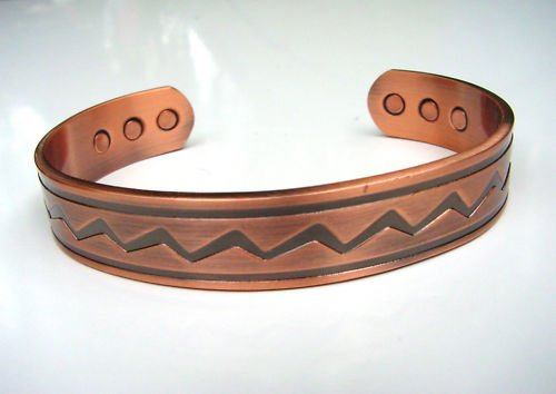 MAGNETIC SOLID COPPER THERAPY BRACELET BANGLE ZIG ZAG 7cm dia