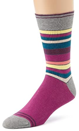 PACT Men's Share The Love Collection Socks, Fuchsia Multistripe, One Size