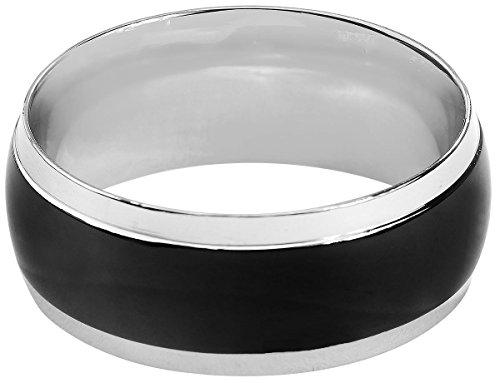 Rock-Silver Black Band Anello standard M