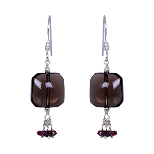 Smokey Topaz & Red Garnet Gemstone Earrings Made In .925 Solid Silver (multicolor)