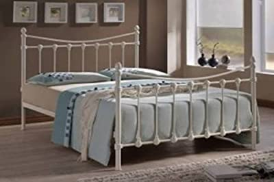 Ivory Victorian Style Small Double Metal Bed Frame