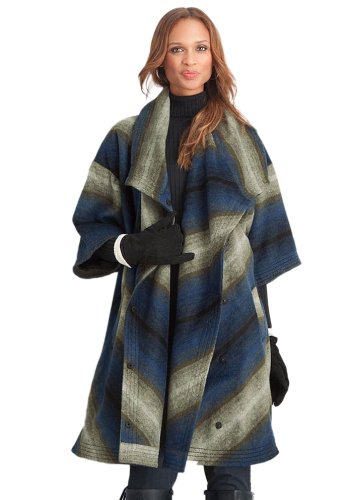 Plus Size Wool Blend Blanket Coat