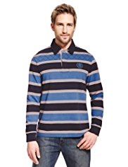 Blue Harbour Pure Cotton Heritage Striped Slim Fit Rugby Shirt