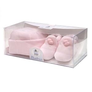 Cambrass - Juego de gorro y zapatos de terciopelo para bebé, de 3 a 6 meses de Cambrass