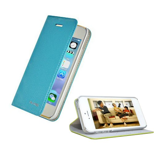 Smart Tech New Arrival Unique Folio Flip Leather Cover Case For Iphone 5 5S - Champagne/Champagne, Champagne/White, Champagne/Black, Cyan/Pink, Cyan/Yellow, Cyan/White (Iphone 5S Case-Chuse-Blue)