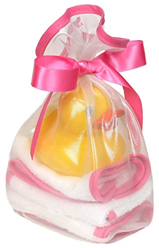 Raindrops Loved Wash Cloth and Rubber Ducky Set, Cotton Candy