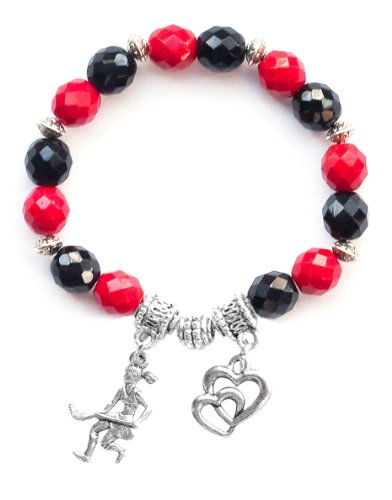 """Field Hockey Girl"" Girls Field Hockey Bracelet (Team Colors Red & Black)-Small"