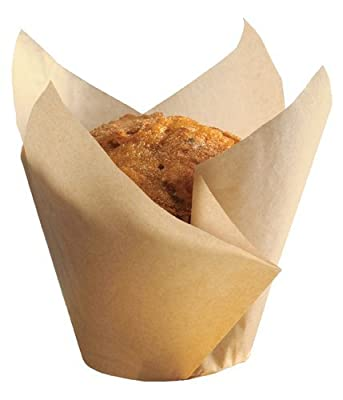 "Hoffmaster 611121 Tulip Cup Cupcake Wrapper/Baking Cup, 2-1/4"" Diameter x 4"" Height, Large, Natural (4 Packs of 250)"