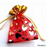 "Nicedeco - Functional 4""*4.9"" ,10*12CM,50 Pieces Wholesale Lot - red Organza Pouches / Drawstring Bags,great for holding accessories, ornament,cable,beads,chains,stones."
